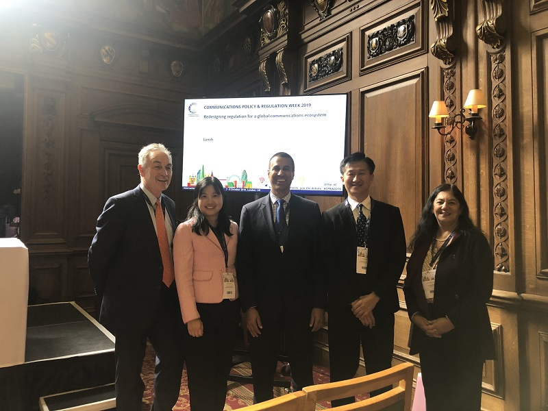 Photo of NCC Commissioners Chen-Ling Hung (2nd from the left) and Wen-Chung Guo (2nd from the right), FCC Chairman Ajit Pai (middle), conference organizer IIC's Chairman Chris Chapman (far left) and Secretary-General Andrea Millwood Hargrave (far right), taken at the regulators' forum.