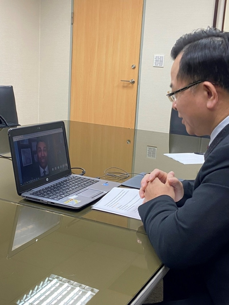 NCC Chairperson Yaw-Shyang Chen exchanges views with FCC Chariman Ajit Pai during the virtual meeting